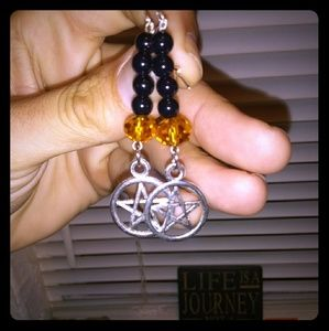 HandMade Halloween Pentagram Earrings.